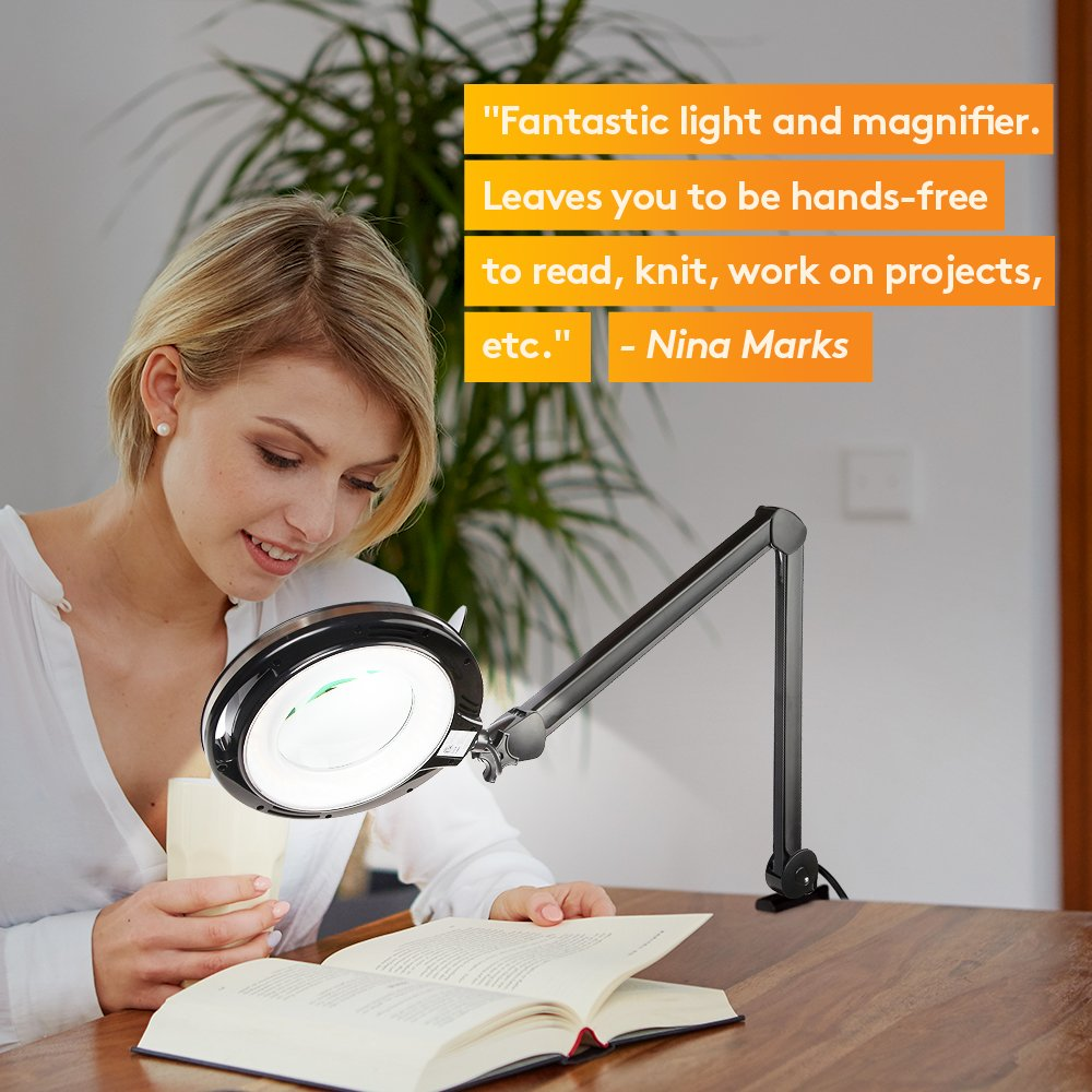 Brightech LightView PRO LED Magnifying Clamp Lamp - Daylight Bright Magnifier Lighted Lens – Dimmable with Adjustable Color Temperature Utility Light for Desk Table Task Craft or Workbench –black by Brightech (Image #9)
