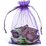 """GSSUSA 100pcs 4"""" x 5"""" Purple Drawstring Organza Gift Bags Jewelry Pouches Wedding Party Favor Bags"""