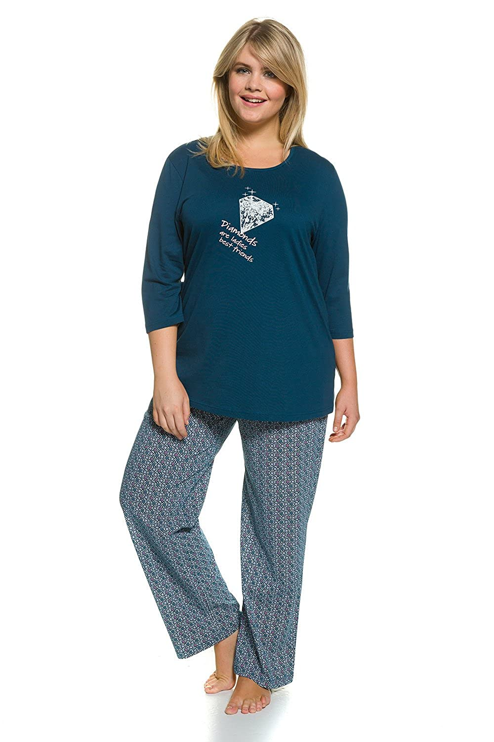 Ulla Popken Women's Plus Size 3/4 Sleeve 2-Piece Cotton Pajama Set 706037