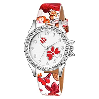 Bhakti Fashion New Red White Diamond Wrist Watch for Girls & Women BF330