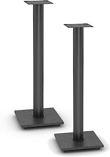 Atlantic Adjustable Speaker Stands 2-Pack Black – Steel Construction, Pedestal Style Wire Management for Bookshelf Speakers up to 20 lbs PN77335799