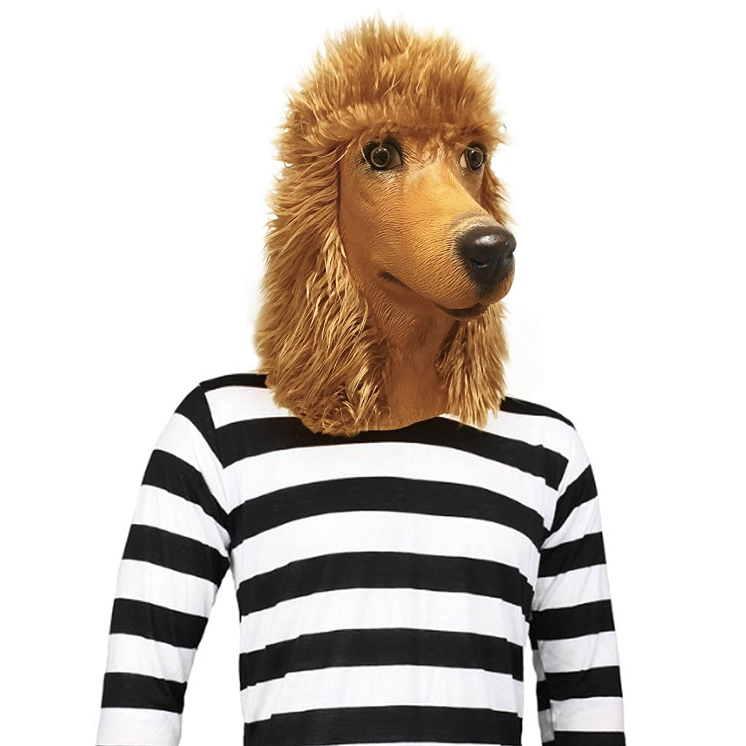 amazoncom off the wall toys standard poodle dog halloween costume face mask kennel club apricot clothing