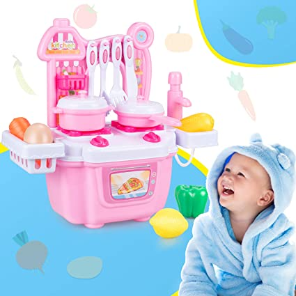 Bobela Toddler Pretend Play Kitchen Toys - 🍳 Baby Kitchen Playsets with  Play Food Set for Him Her, Cooking Toy Kitchen Accessories with Toy Fruits  ...