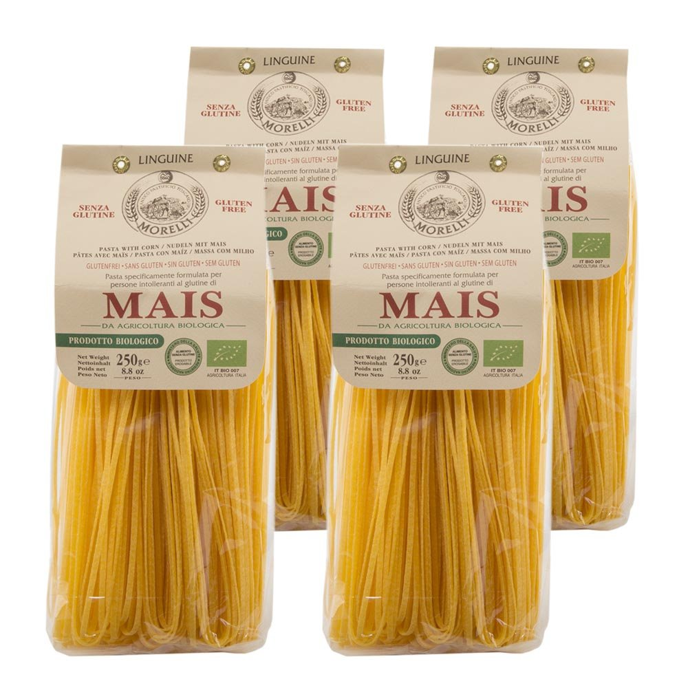 Morelli Italian Gluten Free Mais Linguine Pasta Made From Corn - Pasta Di Mais - 8.8 oz by MORELLI
