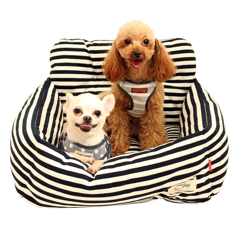 検査レーザもの[ヴィペット]ペット ベッド クッション 犬 猫 スクエア型 ストライプ ソファ マット取り外し可能 夏冬 洗える 通年利用 大型犬 中型犬 小型犬 全4サイズ (M, コーヒー)