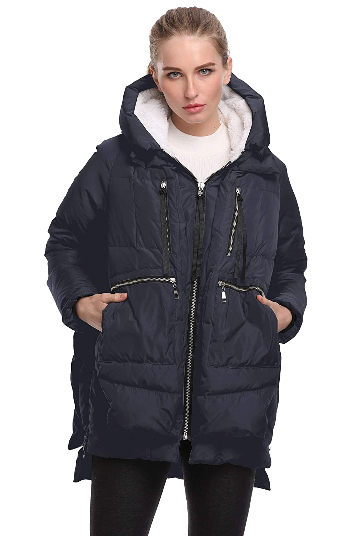 Deep bluee FADSHOW Women's Winter Down Jackets Long Down Coats Warm Parka with Hood