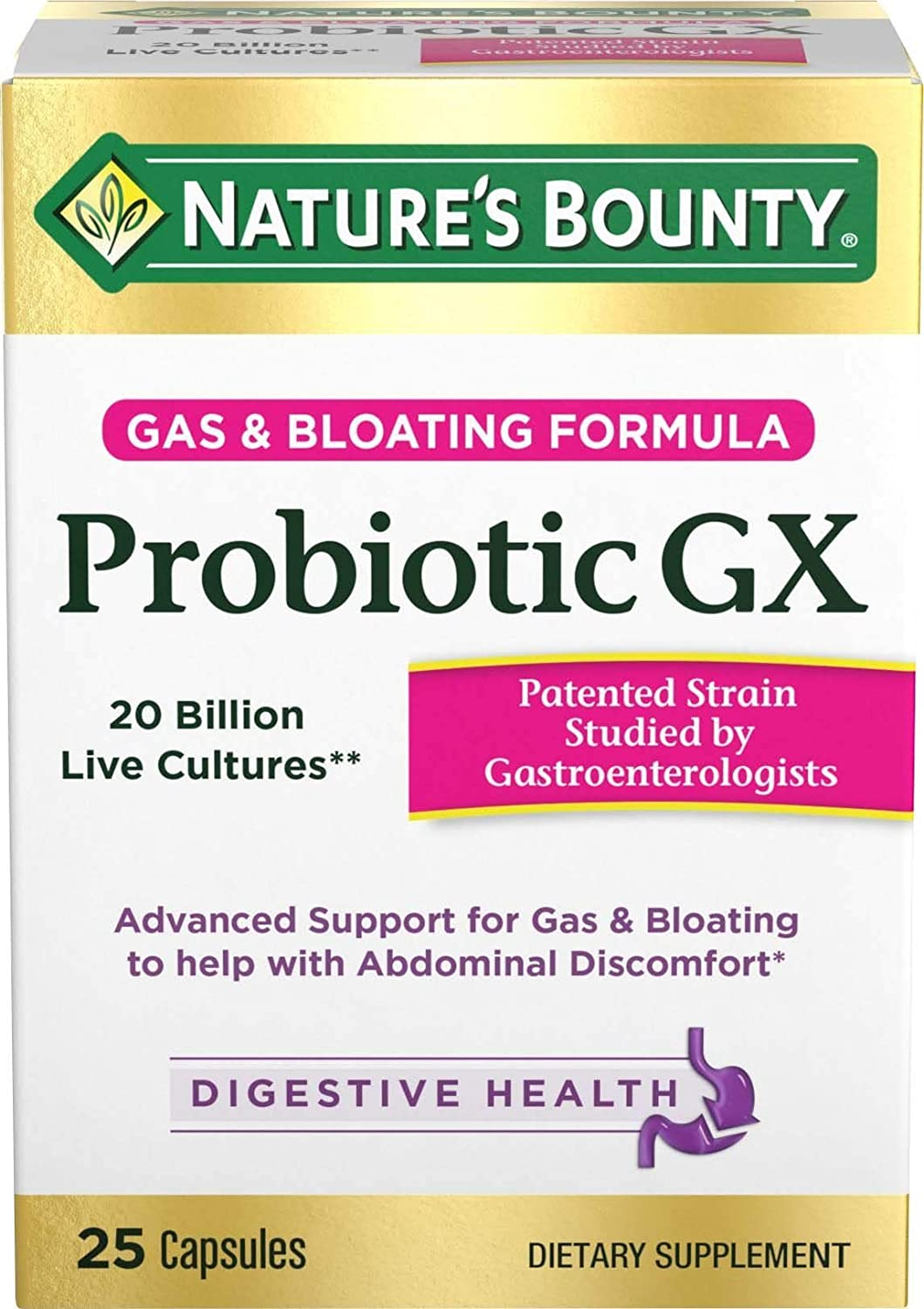 Nature's Bounty Probiotics Pills Gas and Bloating Dietary Supplement, Supports Digestive and Intestinal Health, 25 Capsules