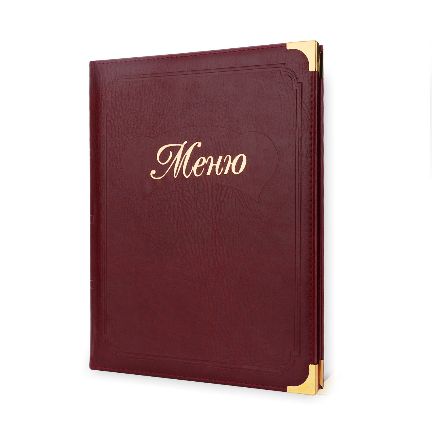 Segarty Leather Menu Cover 9.8x12.5 Inch, Restaurant Recipe Menu Covers for Diners, Cafes, Bistros, and Cafeterias, Elegant Gold Metal Corners, 1 Pack