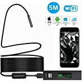 Wireless Endoscope for IOS Android, LEADNOVO WIFI Borescope with 1200P HD Camera IP68 Waterproof Semi-rigid Snake Cable for Smartphone/PC, Inspection Motor Engine/Sewer/Pipe/Vehicle -Black(16.4FT)