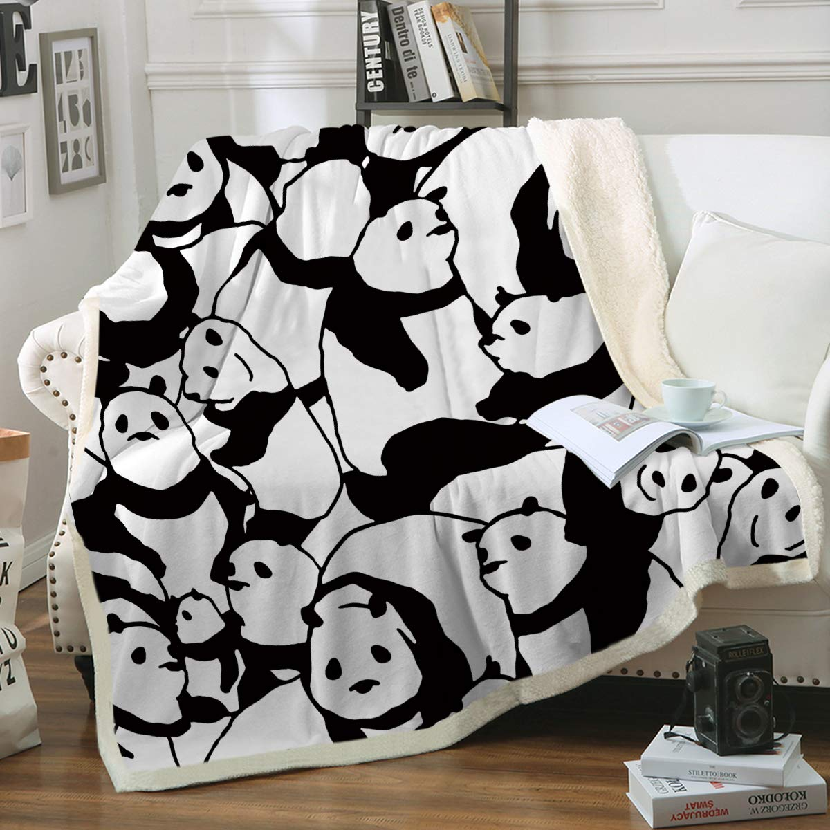 Sleepwish Panda Plush Blanket Cartoon Animal Throw Blanket Cute Panda Bears Graphic Pattern Kids Blankets Fleece Soft Warm Fuzzy Blankets for Teens (50x60 Inches) by Sleepwish
