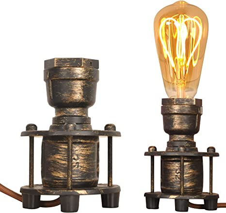 retro home Vintage Industrial Table Lamp Steampunk Holder Bedside Night Light Decoration for Living Room Bedroom Loft Retro Small Desk Lamp Base with Plug in Cord Metal Silver, no E26 Bulbs