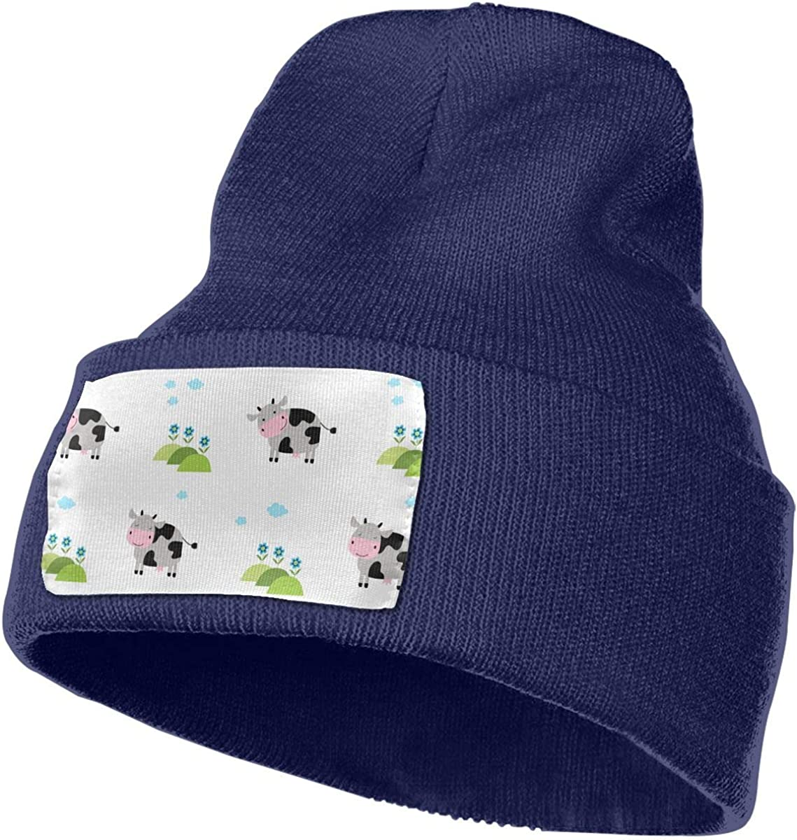 TAOMAP89 Cute Cow Skull Caps Women and Men Winter Warm Stretchy Knitting Beanie Hats