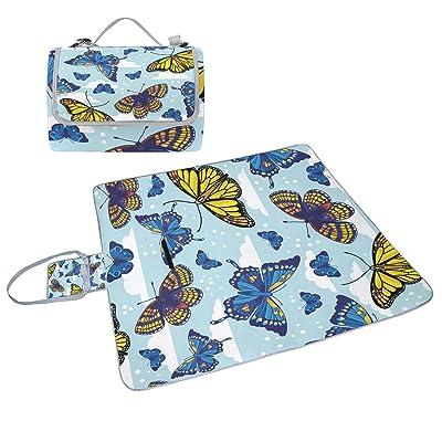 COOSUN Papillons Motif couverture de pique-nique Sac pratique Tapis résistant aux moisissures et étanche Tapis de camping pour les pique-niques, les plages, randonnée, Voyage, Rving et sorties