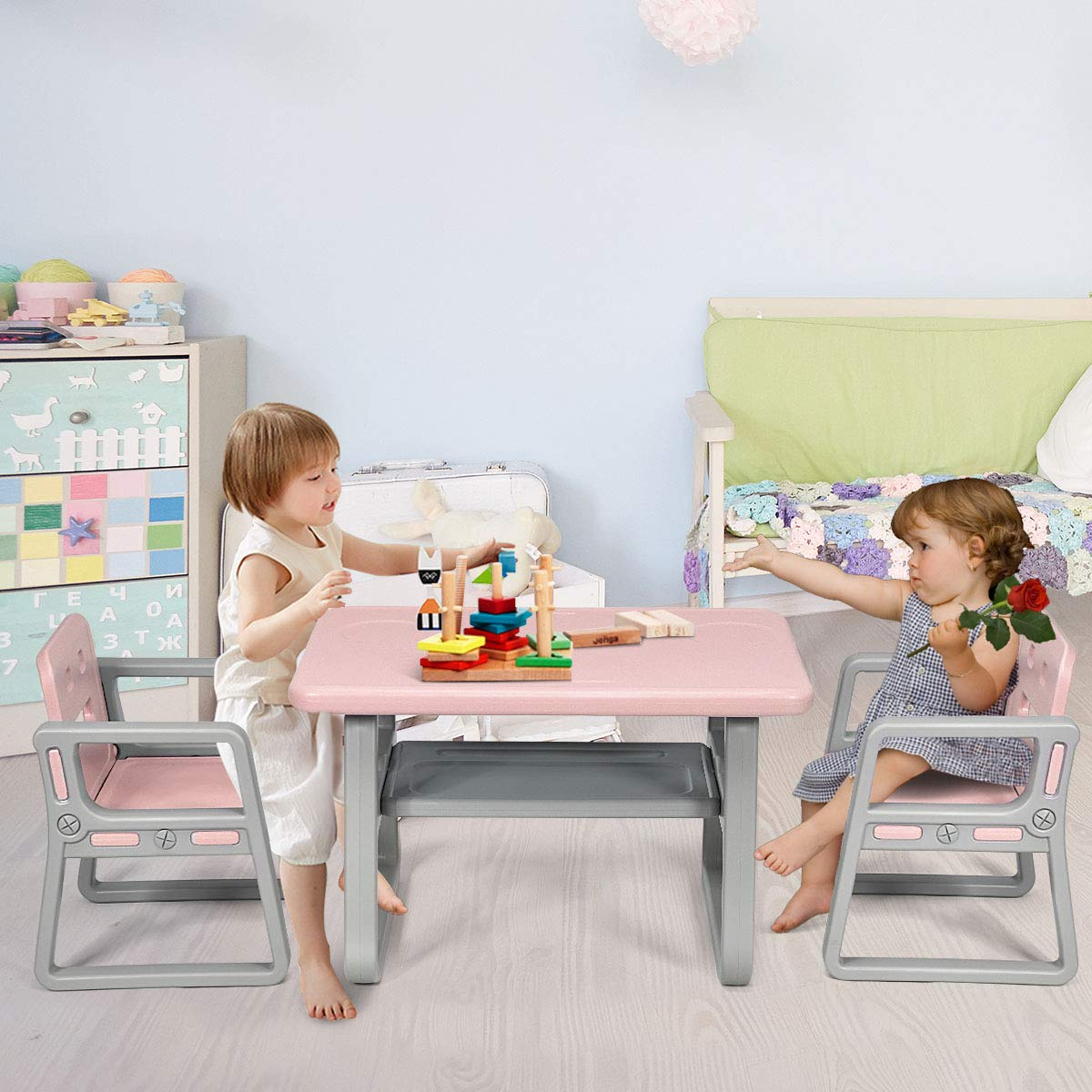 Costzon 3 Piece Kids Table and 2 Chairs Set, Learning Activity Play Table, Baby Dining Table, Children Desk Chair for 1-3 Years, Kids Furniture Set (Pink) by Costzon (Image #1)