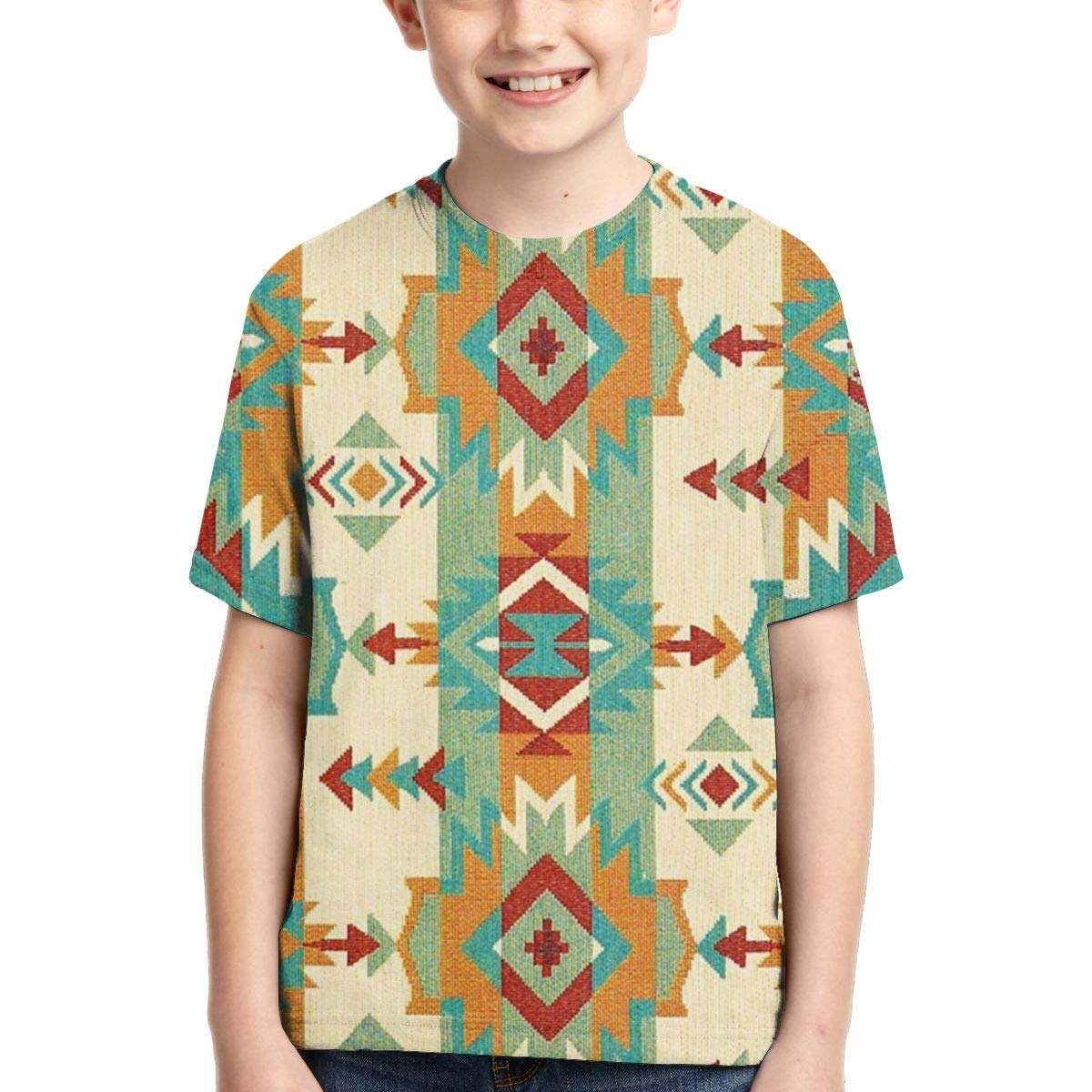 Boys Short Sleeve Tribal Native American African Ethnic Symbols Fashion 3D Print T-Shirts Graphics Pattern Tees for Kids