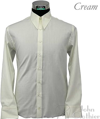 1940s Años 50 para hombre Spear Punto Cuello Camisas diseño Vintage de estilo manga larga 100% algodón Relax Fit camisas crema Cream Stripe: Amazon.es: Ropa y accesorios