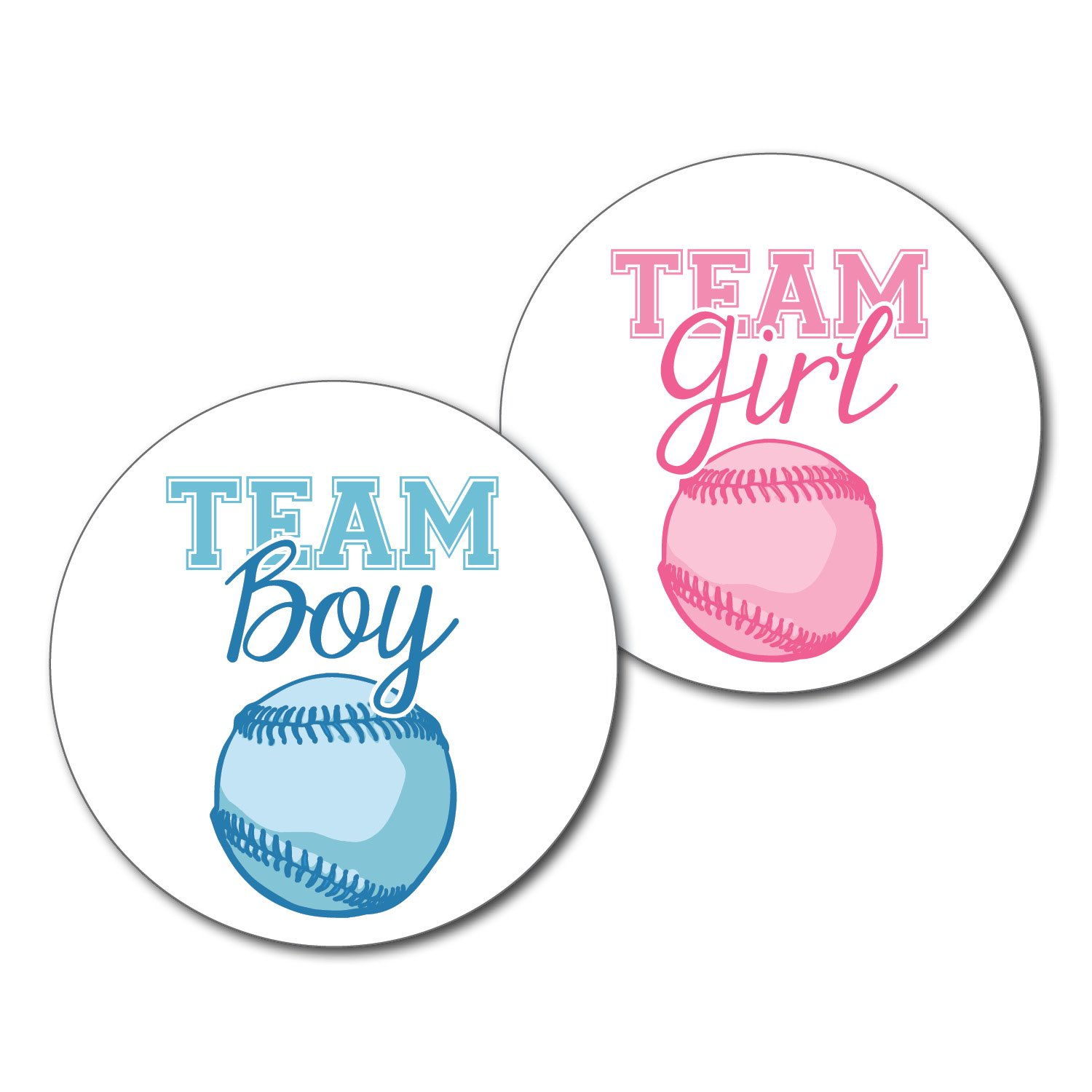 2.5'' Set of 36 Baseball Team Boy & Team Girl Gender Reveal Party Stickers - Pink & Blue