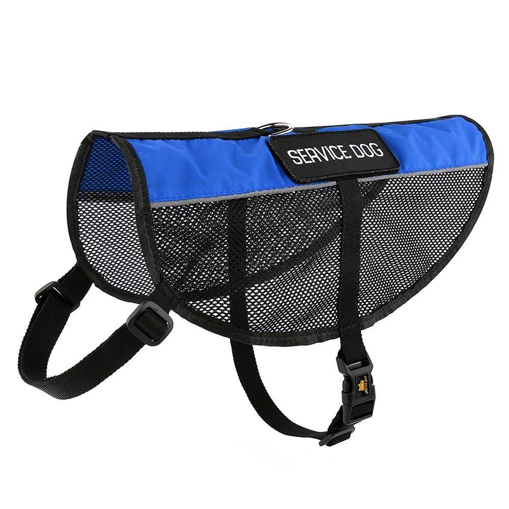 bluee XXS( 11-14\ bluee XXS( 11-14\ Plutus Pet Service Dog Vest Reflective Straps, Lightweight Cool bluee Mesh Harness 2 Free Removable Service Dog Patches,XXS,Girth 11-14