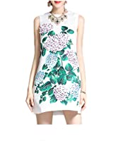 GBBTR Fashion Womens elegant Sleeveless vest Casual White Jacquard Floral Print Applique Short Dress