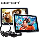 Eonon 2019 Dual Universal Car Headrest Monitors, 10.1 inch Adjustable Car Mount Multimedia Entertainment Display with DVD Player, Touch Button, USB SD Port, Wireless IR Headphones(Two Headrests-Black)-C1100A