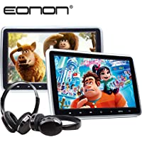 2020 Car Headrest Monitors Eonon C1100A 10.1 Inch Portable DVD Player for Kids Car Digital Touch Screen Headrest DVD Player with Digital Touch Button HDMI USB SD Port (Two Headrests-Black)