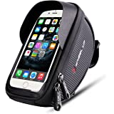 Bike Phone Mount Bag, Bicycle Frame Bike Handlebar Bags with Waterproof Touch Screen Phone Case