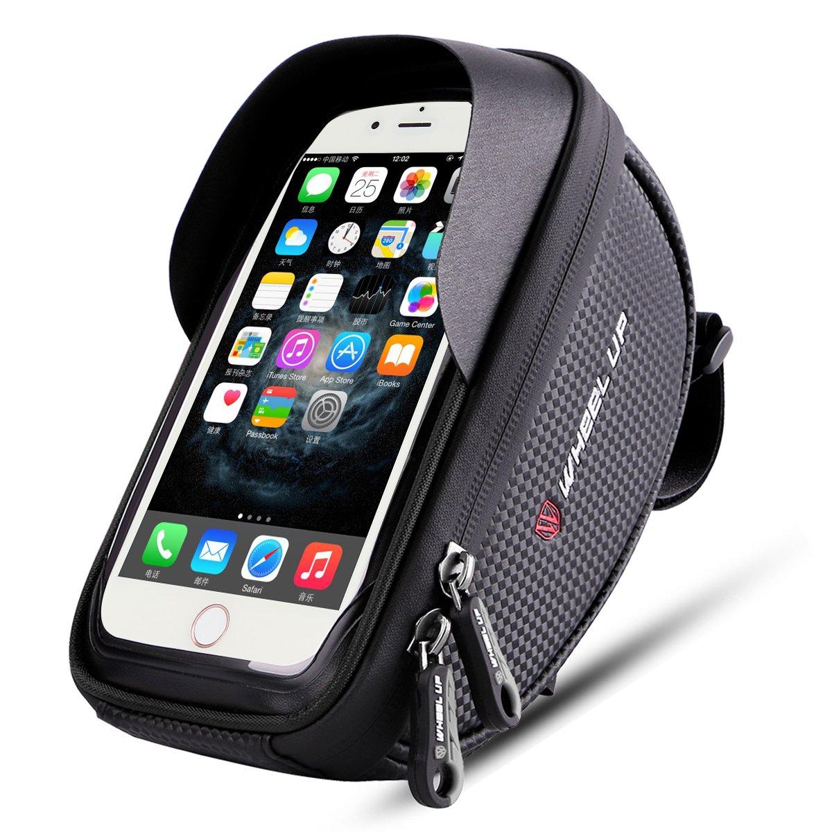 Bike Phone Mount Bag, Wallfire Bicycle Frame Bike Handlebar Bags with Waterproof Touch Screen Phone Case