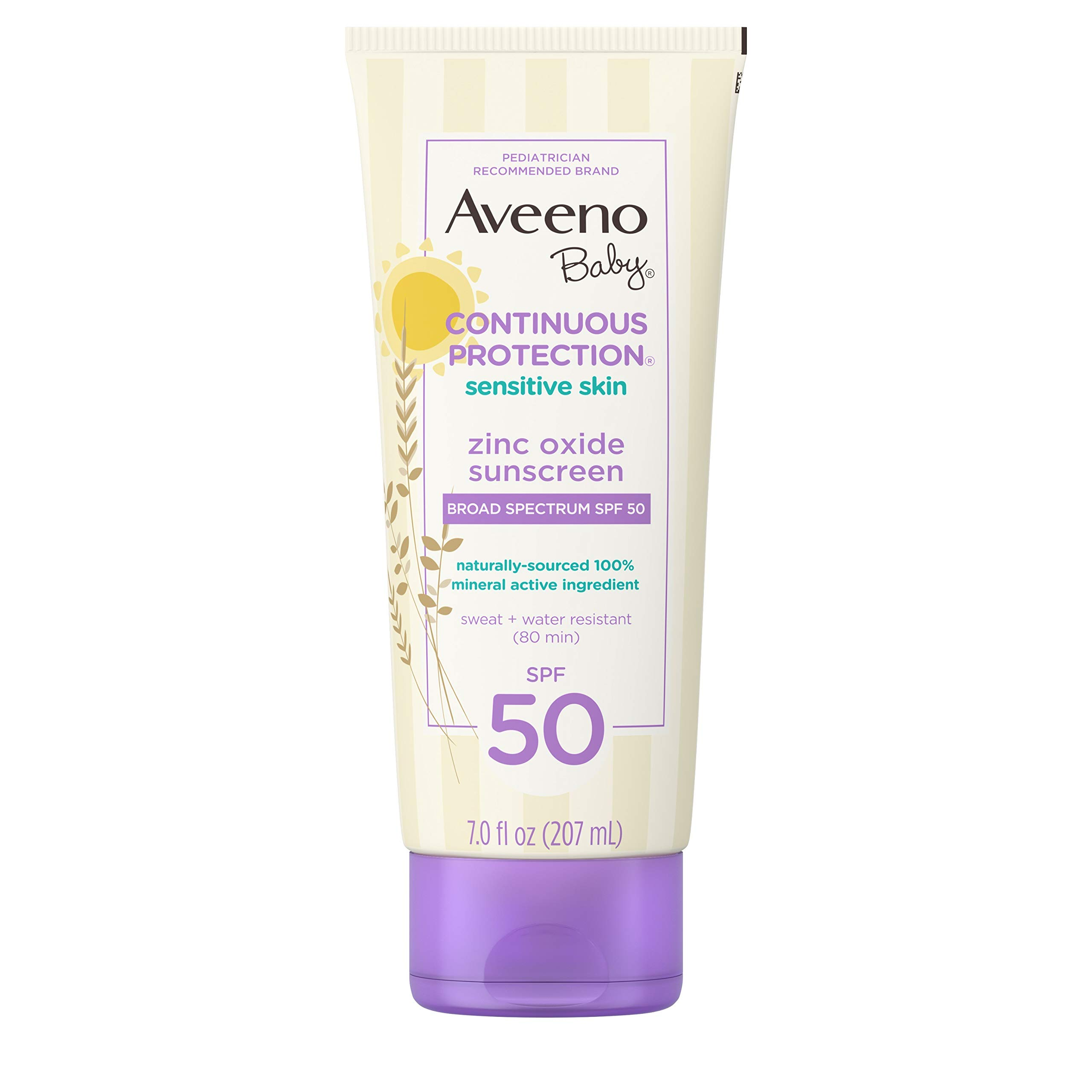 Aveeno Baby Continuous Protection Zinc Oxide Mineral Sunscreen Lotion for Sensitive Skin, Broad Spectrum SPF 50, Tear-Free, Sweat- & Water-Resistant, Paraben-Free, Non-Greasy, 7 fl. oz