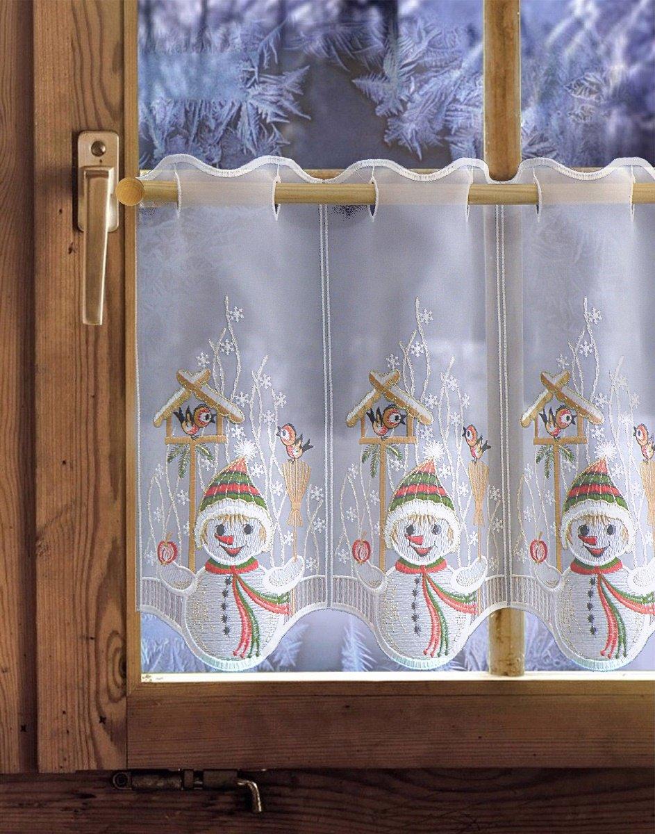 Scheibengardine Bistrogardine Weihnachtsgardine Küchengardine Nikolaus Tanne
