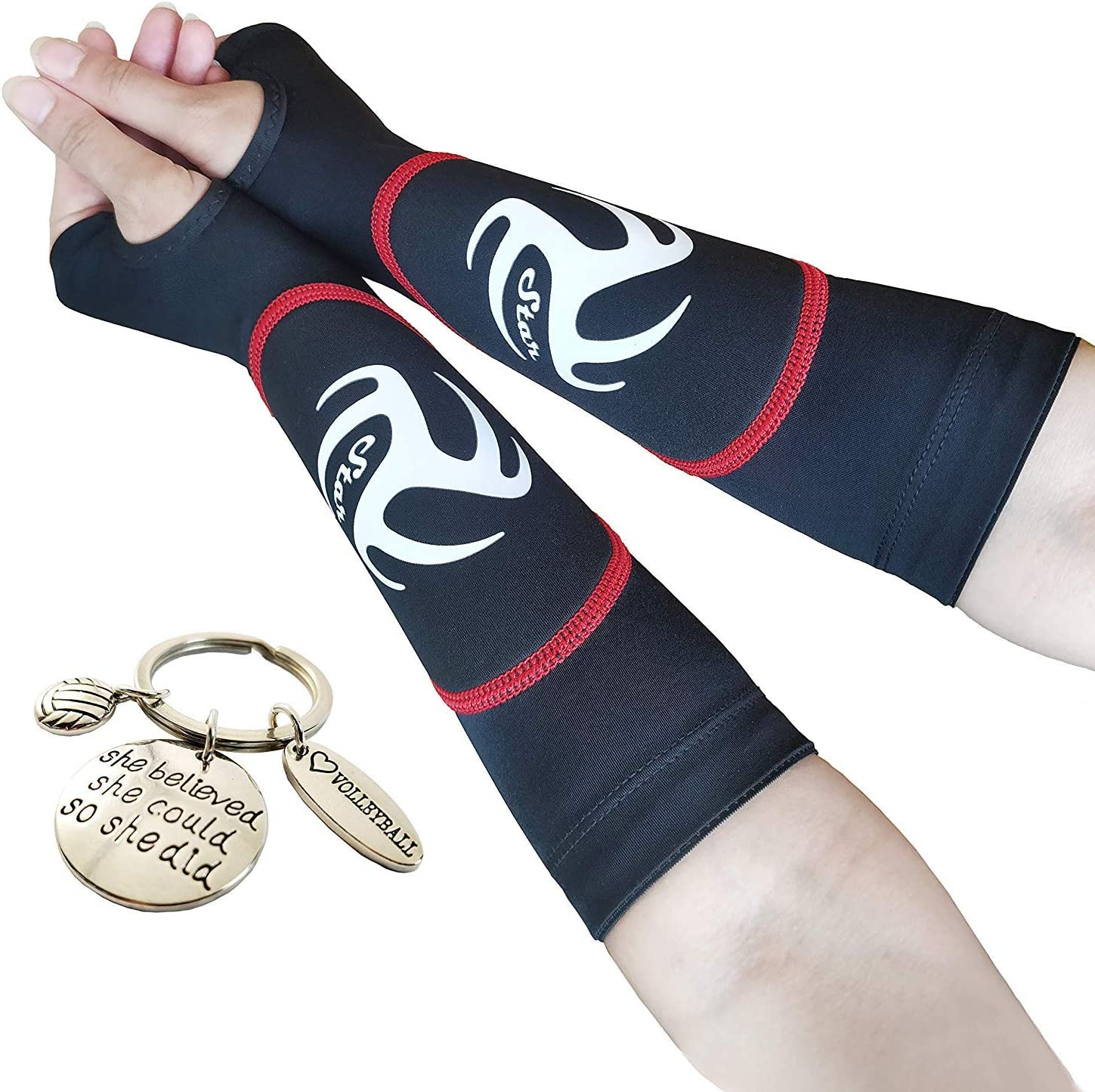 Volleyball Padded Sleeves for Younger Girls and Boys - Passing Forearm Sleeves with Protection Pad (Red Padded Sleeves with Thumbhole, 10) : Sports & Outdoors