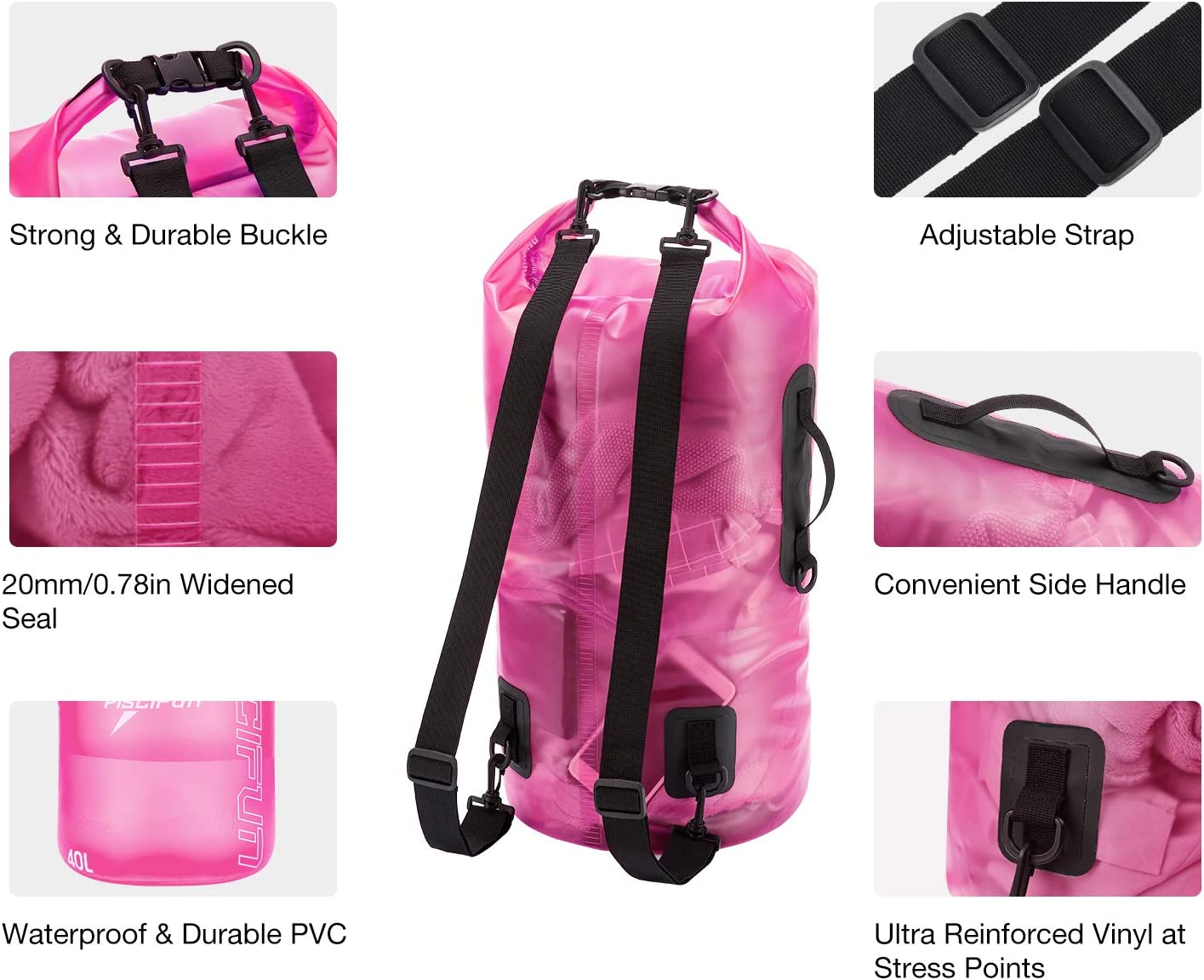 Swimming Dry Bag floating 2L//5L//10L//20L//30L//40L Kayaking Lightweight Dry Bag Backpack for Beach Surfing and Fishing Boating Piscifun Waterproof Transparent Dry Bag with Phone Case for Women and Men
