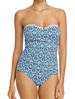 3df7e85243 Tommy Bahama Women's Paisley Leaves V-Front Bandeau One-Piece ...