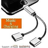 Lightning Jack Kopfhörer Splitter Adapter für iPhone7 / 7Plus iPhone 10 / X / 8 / 8Plus 2 in 1 Dual Lightning Kabel mit Lade & Aux Audio Ohrhörer Multifunktionale Adapter Unterstützung Musik + Lade + Lautstärkeregler Telefon Kommunikationsanruf Kompatibel für iOS 10.2 oder neuer (Silber- Schwarz)
