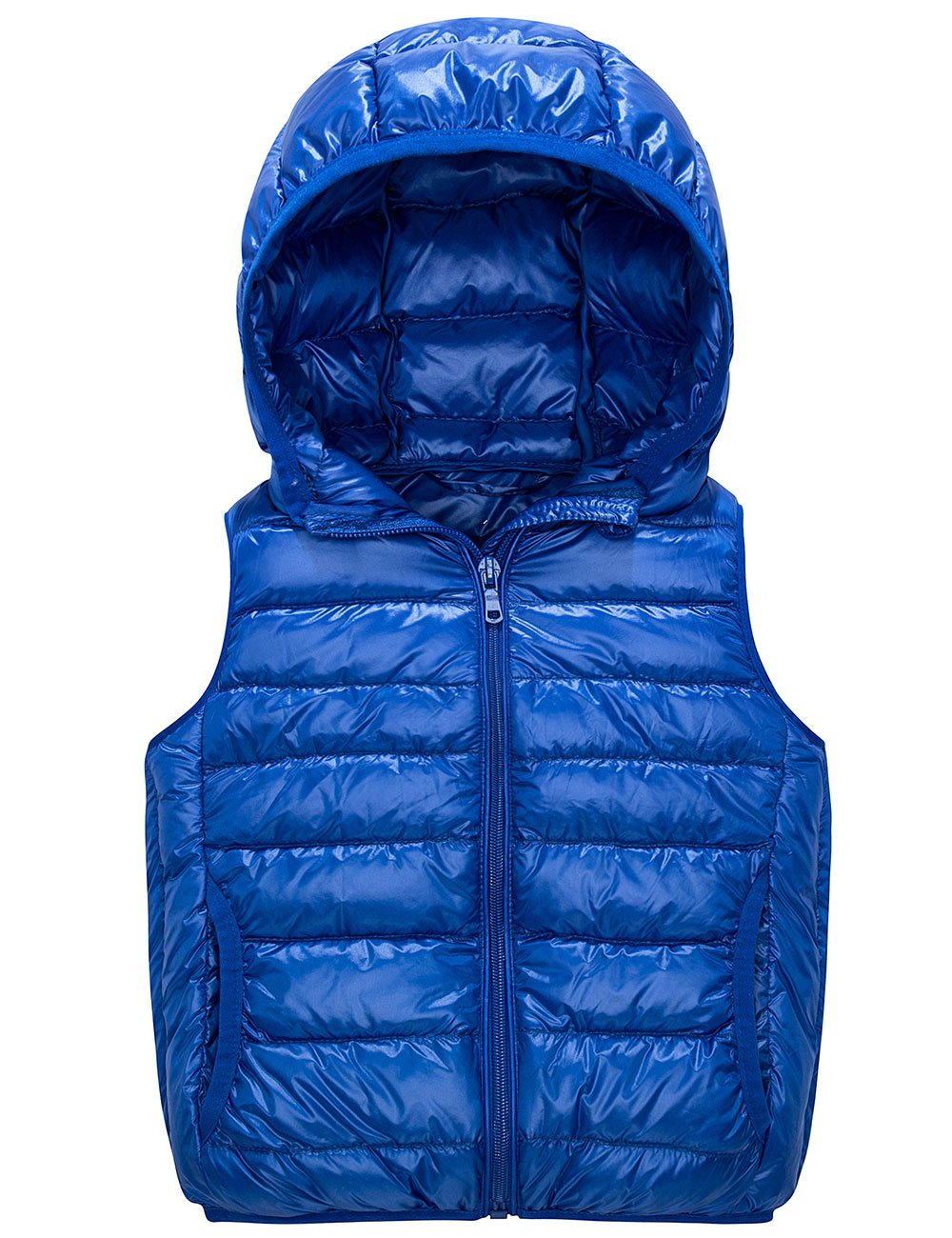 Spring&Gege Kids Lightweight Quilted Packable Hooded Puffer Down Vest for Boys and Girls Blue Size 5-6 Years