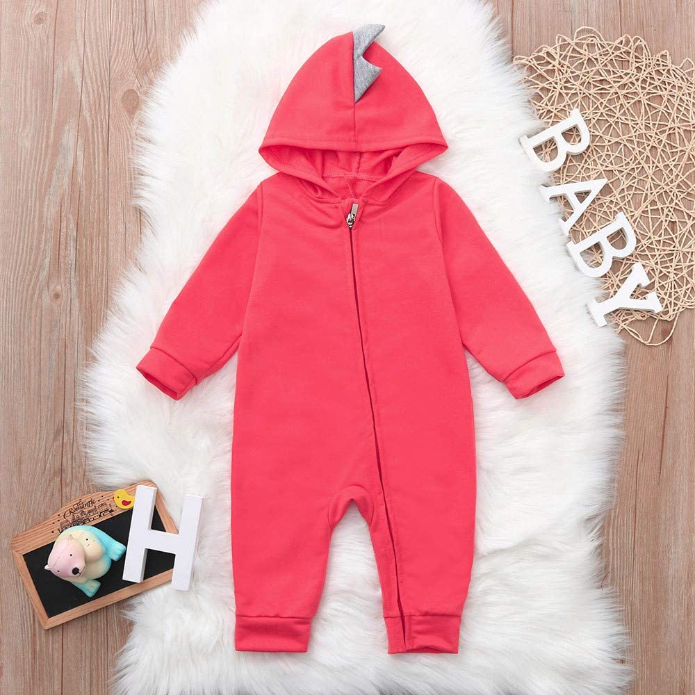 Matoen Baby Toddler Long Sleeve Hooded Dinosaur Back Zip Zipper Clothes Jumpsuit