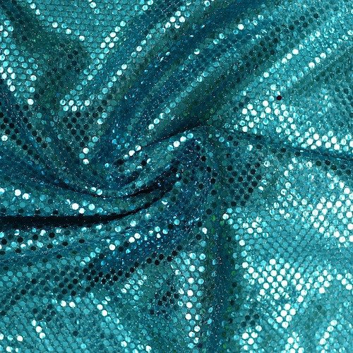 Bright Aqua Apparel - Faux Sequin Knit Fabric Shiny Dot Confetti for Sewing Costumes Apparel Crafts by the Yard (1 YARD, Aqua)