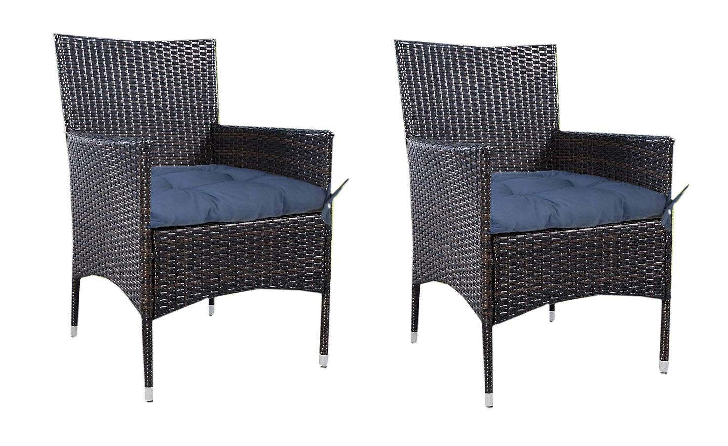 Prettyshop4246 Indoor Ourdoor Wicker Warm Cushion Seat Pad Poolside Home Garden Patio Backyard Balcony Linen Fabric Made in USA Product Soap Maintain East Clean Set of 2 Pcs Navy Blue by Prettyshop4246 (Image #6)