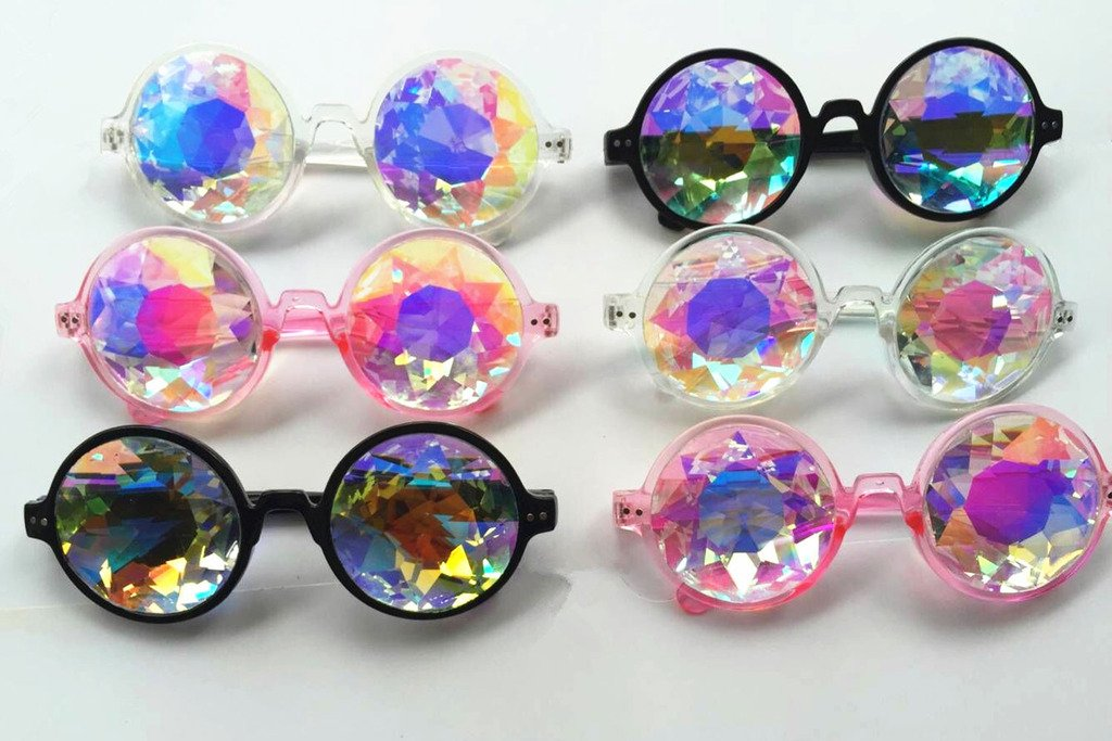 Amazon Prime Deals,Black/Pink/White Black Kaleidoscope Glasses- Rainbow Rave Prism Diffraction by Careonline (Image #8)