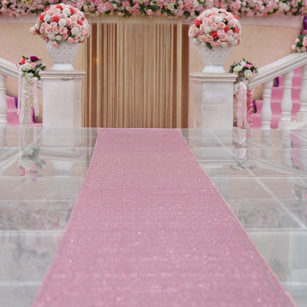 TRLYC 4ftx20ft Wedding Party Christmas Sequin Floor Aisles Runner for Wedding-Rose Pink by TRLYC