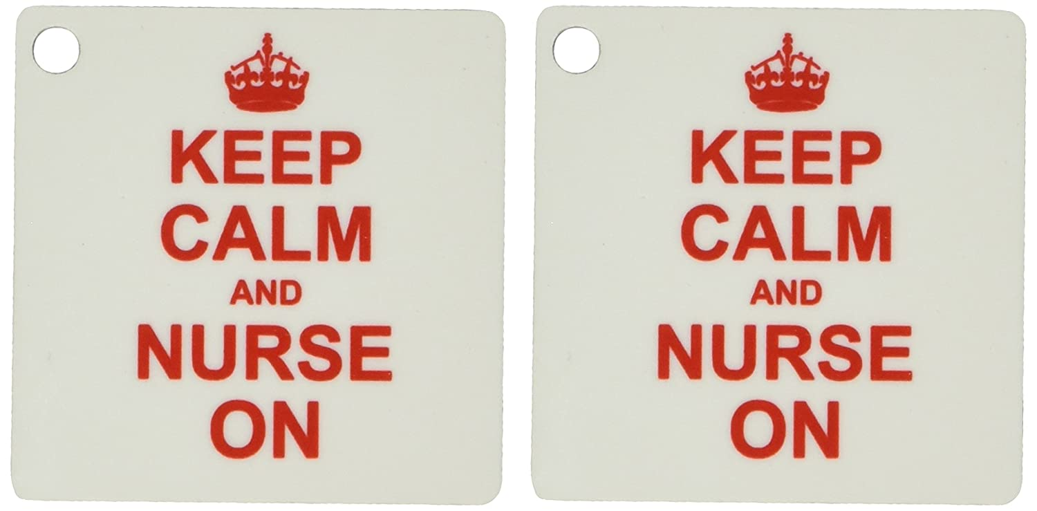 3drose Keep Calm and Nurse On – Carry On授乳ジョブ – 看護師日ギフト – 赤楽しいユーモア – キーチェーン、2.25 X 2.25インチ、2のセット(KC 157744 _ 1 ) B00NA8Z0I6