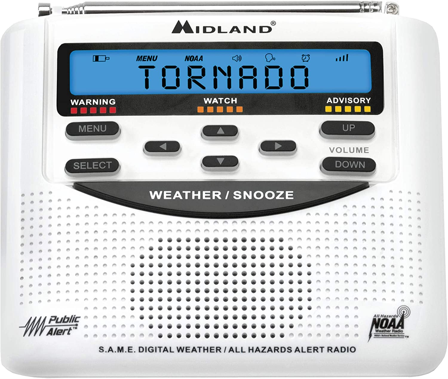 Midland - WR120B/WR120EZ - NOAA Emergency Weather Alert Radio - S.A.M.E. Localized Programming, Trilingual Display, 60+ Emergency Alerts, & Alarm Clock (WR120B - Box Packaging): Home Audio & Theater