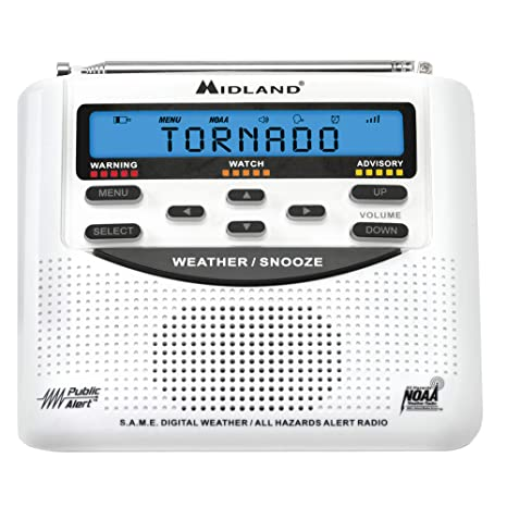 Midland - WR120B/WR120EZ - NOAA Emergency Weather Alert Radio - SAME  Localized Programming, Trilingual Display, 60+ Emergency Alerts, & Alarm  Clock