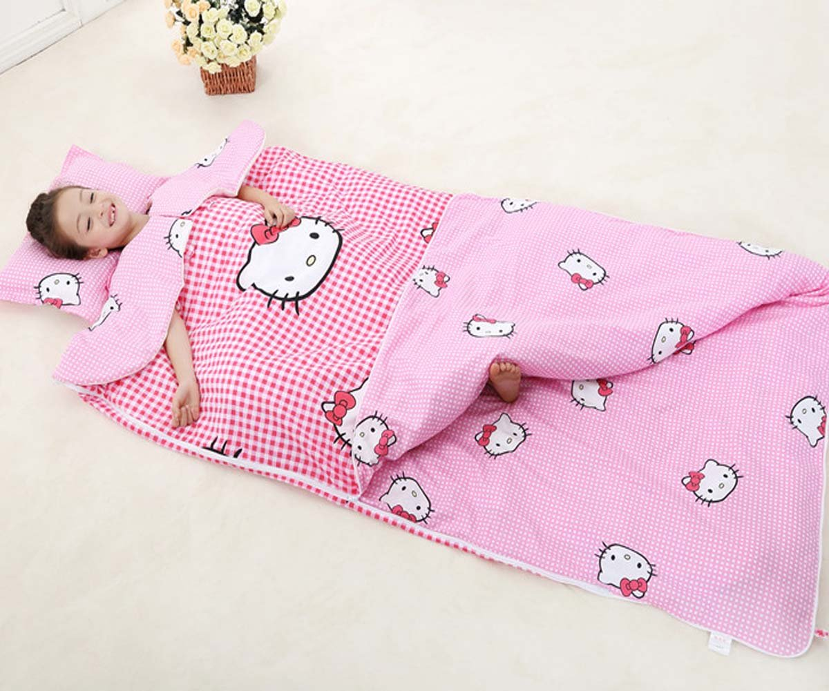 Sport do All Seasons Baby Cartoon Hello Kitty Pink Checked Sleeping Bag with Removable Shoulder Pads Children Pure Cotton Thicken Anti-kicking Quilt 71 X 39 Inch