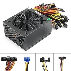 1600W Power Supply for 6 GPU ETH Rig Ethereum Bitcoin Mining Miner Machine, 1600 Watt 90 Plus Gold Certified pc Power Supply/PSU with Silent 140mm Fan and Auto Fan Speed Control, Semi Modular Desig
