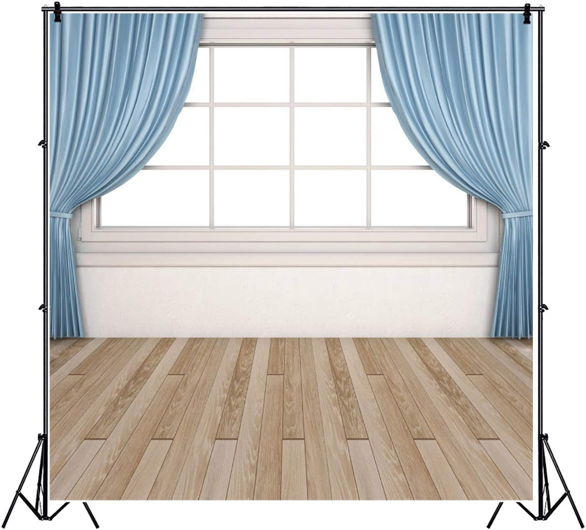 YEELE Empty Interior with Window Backdrop 9x9ft White Window with Blue Curtain Photography Background House Home Decoration Kids Adults Portrait Photobooth Studio Props Digital Wallpaper