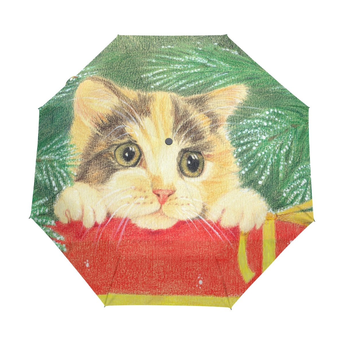 durable service naanle merry christmas cat auto open close foldable windproof travel umbrella - Merry Christmas Cat