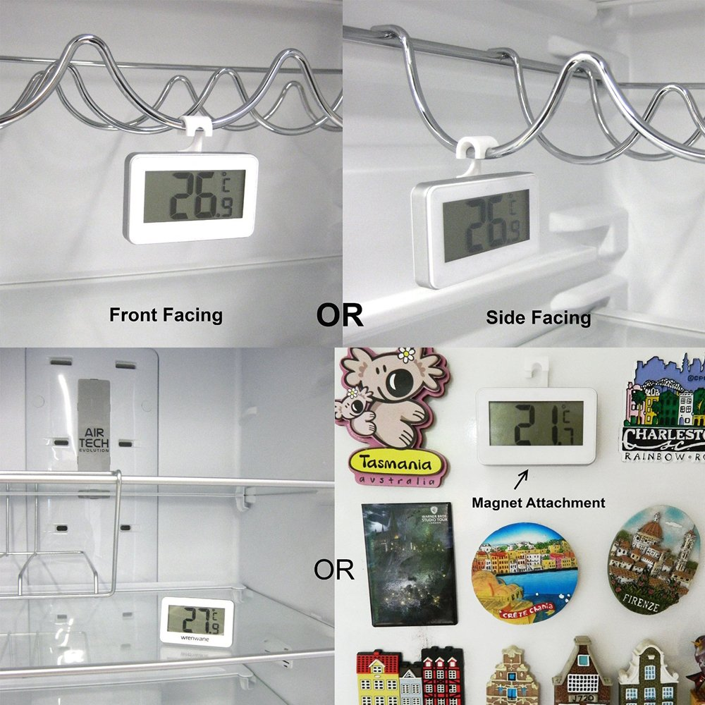 Jeswell Refrigerator Thermometer Digital Fridge Freezer Room Frost Alarm With Magnet And Hook