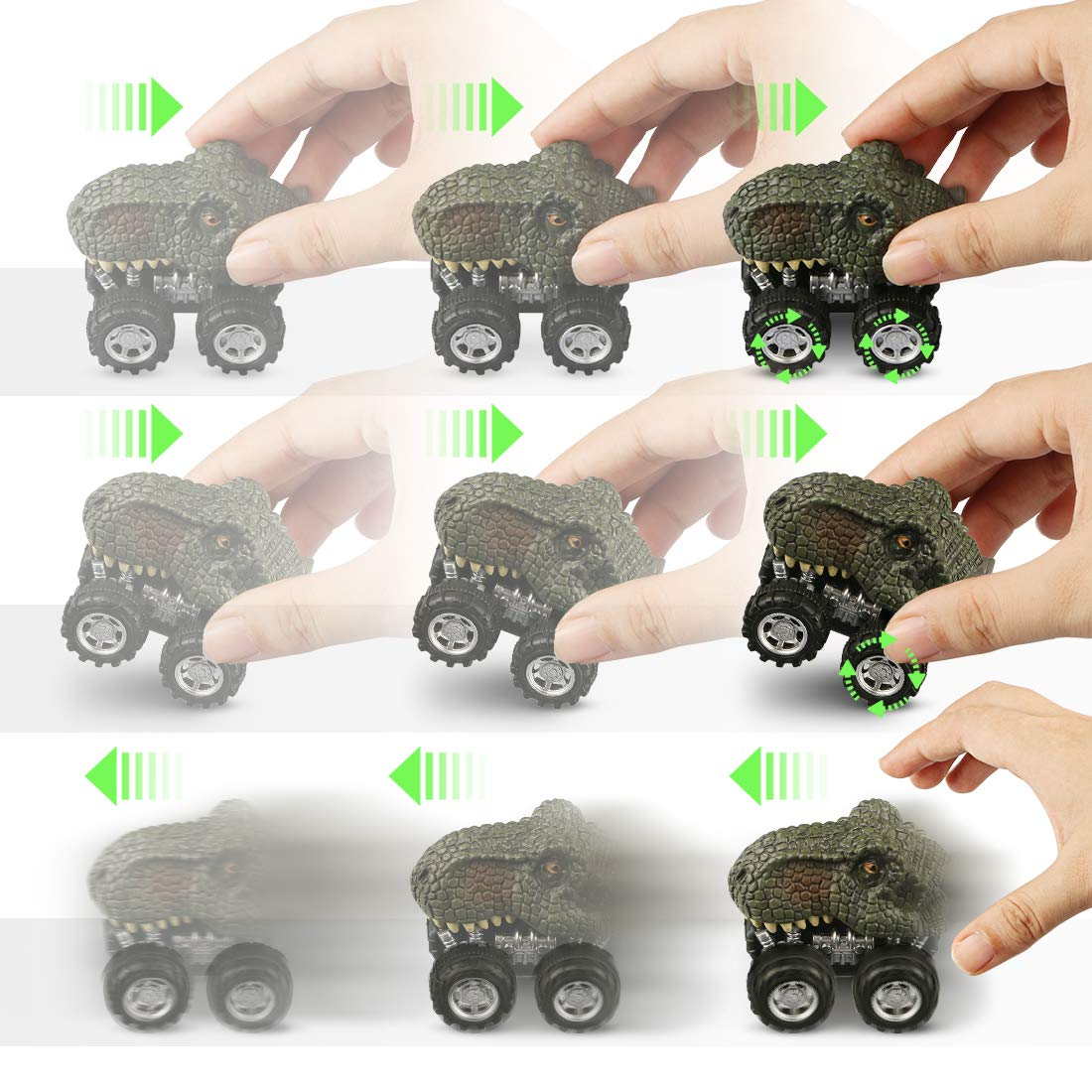 WOSTOO Dinosaur Cars, 6 Pcs Pull Back Dinosaur Toy Cars, Non-Toxic & Safe Plastic Mini Pull Back Animal Car Toy for Toddlers Boys Girls, Animal Vehicles for Kids Creative Gifts