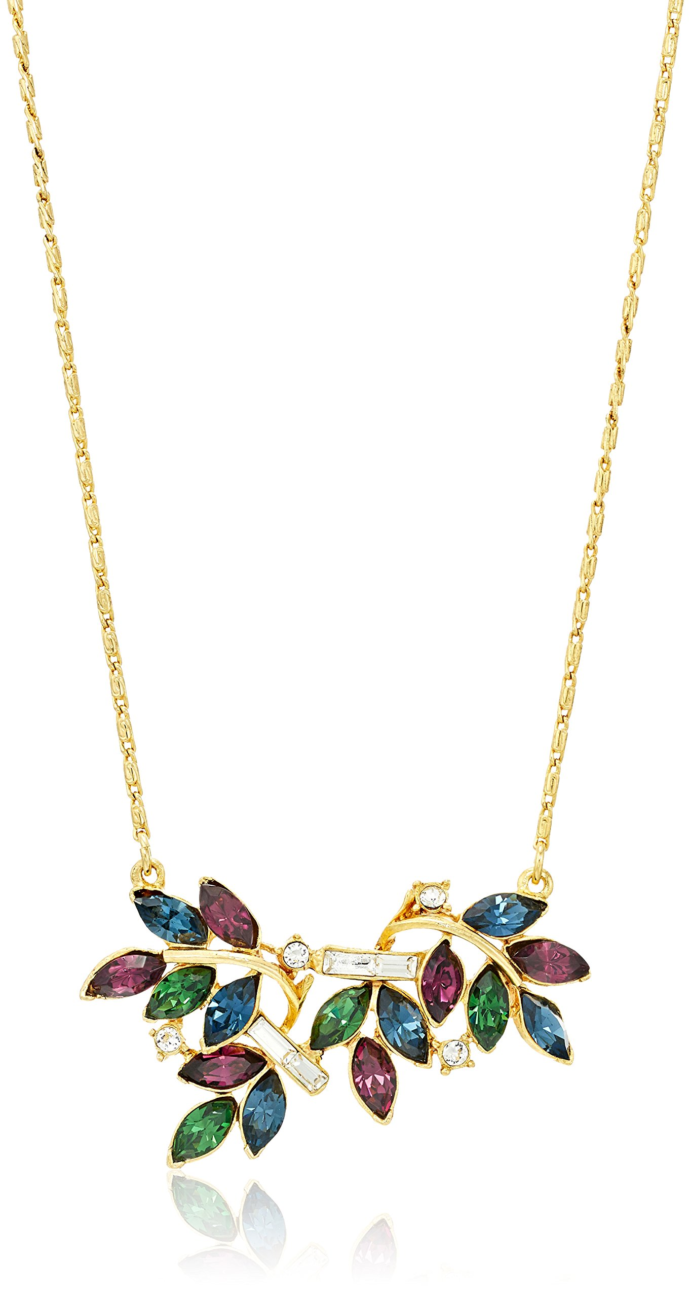Ben-Amun Jewelry Maharaji Swarovski Crystal Floral Marquise Cut Pendant Gold Necklace, 16.5'' + 2'' Extender