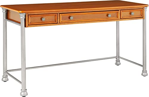 Home Styles Orleans Vintage Caramel Executive Desk with Drop-down Keyboard Tray, One Accessory Drawer on Both Sides, and Birch Veneers with Engineered Wood Construction